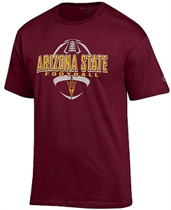 Arizona State Sun Devils Maroon Football Short Sleeve T Shirt by Champion