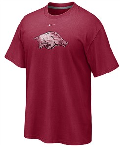Arkansas Razorbacks Men's Distressed Logo T Shirt by Nike on Sale