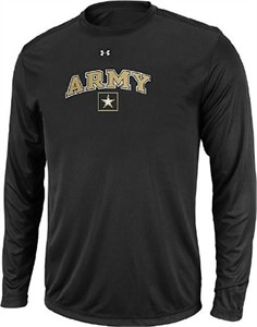 Army Black Knights Black Poly Dry HeatGear NuTech Long Sleeve Shirt by Under Armour