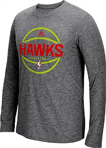 Atlanta Hawks Adidas Slimmer Fit On-Court Dark Grey Pre-Game Ultimate Synthetic Long Sleeve T Shirt