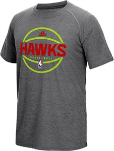 Atlanta Hawks Adidas Slimmer Fit On-Court Dark Grey Pre-Game Ultimate Synthetic Short Sleeve T Shirt