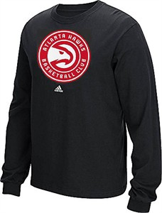 Atlanta Hawks Black New Primary Logo Long Sleeve Tee Shirt by Adidas
