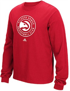 Atlanta Hawks Mens Red Big Logo Long Sleeve Tee Shirt by Adidas