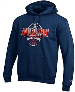 new style 8af7a f9c59 Auburn Tigers Blue Football Powerblend Screened Hoodie ...