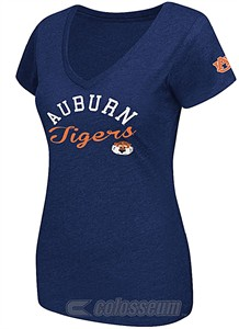 Auburn Tigers Womens Blue Stadium V-Neck T Shirt by Colosseum