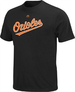 Baltimore Orioles Official Wordmark Short Sleeve T Shirt by Majestic