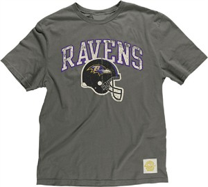 Baltimore Ravens Button Hook Slimmer Fit Retro T Shirt By Reebok