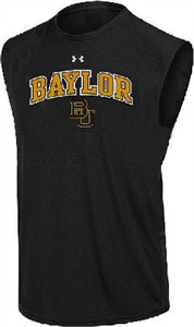 Baylor Bears Black Poly Dry HeatGear NuTech Sleeveless Shirt by Under Armour