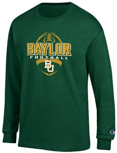 Baylor Bears Green Football Long Sleeve Tee Shirt by Champion