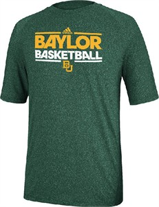 Baylor Bears Heather Green Dribbler Short Sleeve Climalite Basketball Practice Shirt by Adidas