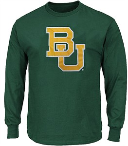 Baylor Bears Mens Green School Logo Long Sleeve T Shirt