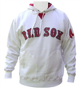 Boston Red Sox MLB White Throwback Tackle Twill Lettered  Hoodie By Majestic