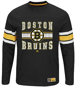 Boston Bruins Adult Black Forecheck Long Sleeve T Shirt
