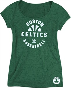 Boston Celtics Women's Scoop Neck Backup Tee Shirt by Adidas