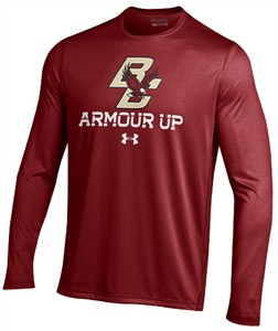 Boston College Eagles Maroon Poly Dry Armour Up HeatGear NuTech Long Sleeve Shirt
