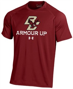 Boston College Eagles Maroon Poly Dry Armour Up HeatGear NuTech Short Sleeve Shirt