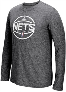 Brooklyn Nets Adidas Slimmer Fit On-Court Dark Grey Pre-Game Ultimate Synthetic Long Sleeve T Shirt