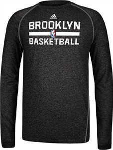 Brooklyn Nets Heather Black Climalite Practice Long Sleeve Shirt by Adidas