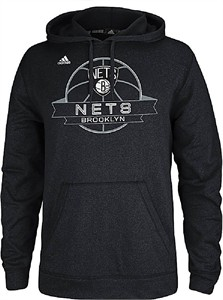 Brooklyn Nets Mens Heather Black Ultimate Banner Synthetic Hoodie by Adidas