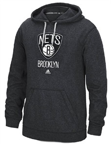 Brooklyn Nets Mens Heather Charcoal Ultimate Logo Synthetic Hoodie Top by Adidas