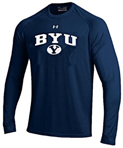 BYU Cougars Navy Poly Dry HeatGear NuTech Long Sleeve Shirt by Under Armour