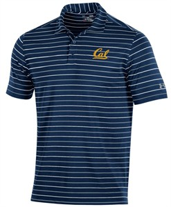 Cal Bears Mens Striped Performance Polyester Polo Shirt