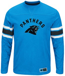 Carolina Panthers Adult Electric Blue Power Hit 2 Long Sleeve T Shirt on Sale