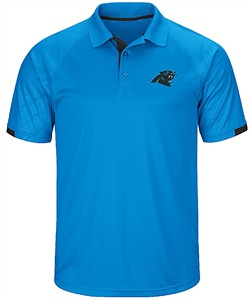 Carolina Panthers Mens Electric Blue Power Run Synthetic Poly Polo Shirt