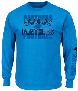 Carolina Panthers Mens Electric Blue Primary Receiver 3 Long Sleeve T Shirt
