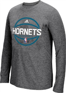 Charlotte Hornets Adidas Dark Charcoal Heather Pre-Game Ultimate Synthetic Slim Fit Long Sleeve T Shirt
