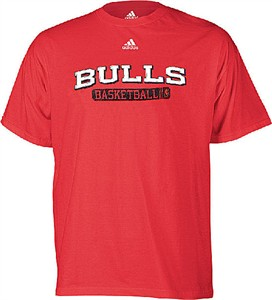 Chicago Bulls Red NBA Double OT Short Sleeve Tee Shirt By Adidas