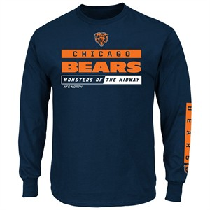 Chicago Bears Blue Primary Receiver 2 Long Sleeve Football Tee Shirt ... 561f36d92