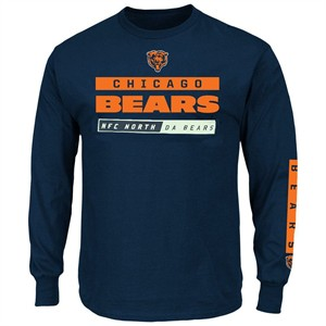 Chicago Bears Blue Slotback Da Bears Long Sleeve Football T Shirt