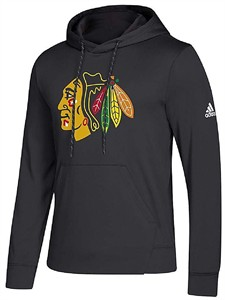 Chicago Blackhawks Black Adidas Synthetic Poly Finished Hockey Hoodie Sweatshirt