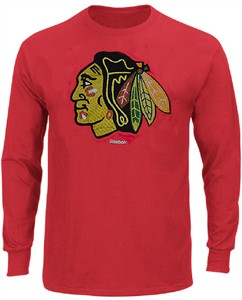 Chicago Blackhawks Faded Sweater Emblem Reebok Long Sleeve T Shirt