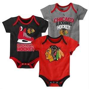 Chicago Blackhawks Infant Hat Trick3 Pack Creeper Bodysuit Set