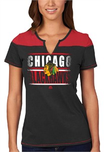 Chicago Blackhawks Ladies Majestic In The Moment Notch Neck Tee Shirt