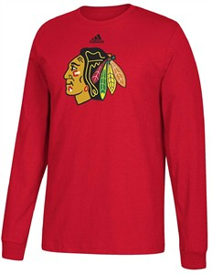 Chicago Blackhawks Mens Adidas Red Primary Logo Long Sleeve T Shirt