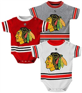Chicago Blackhawks Reebok 3-Pack Infant Creeper Set