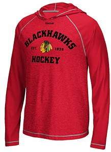 Chicago Blackhawks Reebok Red New Traditions Speedwick Poly Long Sleeve Hoodie Shirt