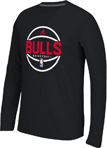 Chicago Bulls Adidas Black Pre-Game Slimmer Fit Synthetic Long Sleeve T Shirt