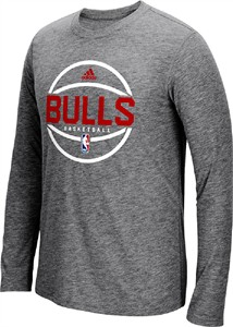 Chicago Bulls Slimmer Fit Adidas On-Court Dark Grey Pre-Game Ultimate Synthetic Long Sleeve T Shirt