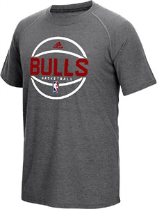 Chicago Bulls Adidas Dark Grey Heather Pre-Game Ultimate Synthetic Slimmer Fit Short Sleeve T Shirt