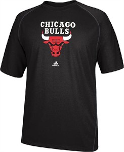 Chicago Bulls Black Primary Logo Climalite Short Sleeve Shirt by Adidas