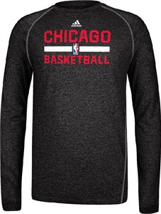 Chicago Bulls Heather Black Climalite Practice Long Sleeve Shirt by Adidas