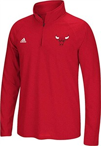 Chicago Bulls Heather Red Quarter Zip Synthetic Shirt by Adidas