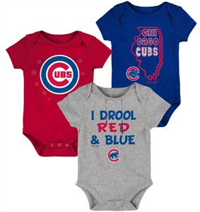 Chicago Cubs Gen2 Infant Big Time Fan 3 Pack Bodysuit Set