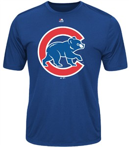 Chicago Cubs Majestic Synthetic Official Logo Short Sleeve Tee Shirt