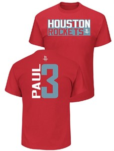 uk availability 90d1b 2a5f2 Chris Paul Houston Rockets Mens Red Vertical Short Sleeve T ...