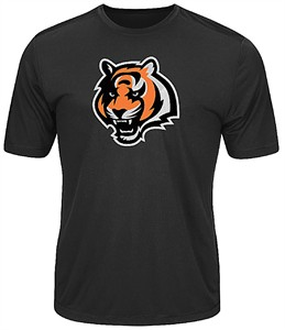 Cincinnati Bengals Black Synthetic Logo Tech Short Sleeve Tee Shirt
